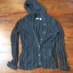 Grey hooded cable knit button up sweater